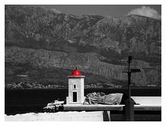 Lantern with a red cap (kontinova2) Tags: red bw croatia lantern brač postira mygearandme mygearandmepremium mygearandmebronze mygearandmesilver ruby5 flickrstruereflection1