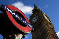 Westminster Underground (Vasilis Mantas) Tags: greatbritain blue england sky london clock westminster underground unitedkingdom tube parliament bigben bluesky 1740 canon500d vmantas vmantasphotography