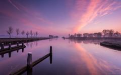 View from the Jan Bronssluis at sunrise, Groningen (koos.dewit) Tags: water sunrise canon reflections thenetherlands groningen 6d garmerwolde spiegelingen zonsopkomst 1740mml koosdewit janrbronssluis