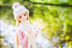 Woodland Lily (GabrielVH) Tags: pink flowers winter white cute scarf canon woodland 50mm spring lily 7d bjd dd dollfie volks blondehair redeyes thighhigh fatestaynight dollfiedream flickrsafe saberlily