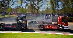 Environmentally Friendly? Through the diesel smoke is some close Truck Racing (Gary8444) Tags: truck canon championship indy racing april british hatch brands motorsport 2014 btra