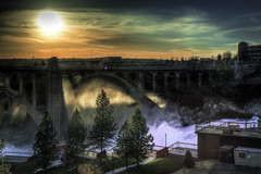 Huntington Park (giberin) Tags: park city bridge trees light sunset sky sun sunlight mist tree texture wet water beautiful beauty weather skyline clouds canon buildings river lights waterfall washington haze spokane downtown skies sundown branches vivid pacificnorthwest riverfrontpark