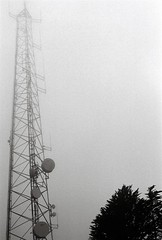 Top of Twin Peaks (Rachael.Robinson) Tags: sf california city blackandwhite white black film fog 35mm san francisco cloudy satellite twin peaks