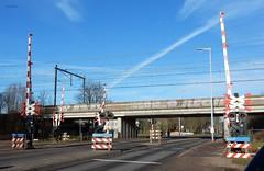 spoorwegovergang en ongelijkvloerse kruising Eykmanlaan - Darwindreef, Utrecht (bcbvisser13) Tags: spoorwegovergang spoorwegviaduct spoorbomen waarschuwingsborden eijckmanlaan utrecht gemutrecht provutrecht nederland eu
