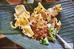 Pecel salad on banana leaf dish (George Martinus (MakanAngin)) Tags: pecel salad vegetable pecal rempeyek java sunda javanese sundanese food culinary delicacy cuisine traditional indonesia sauce peanut basil fritters