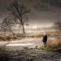 Changes (iwona_podlasinska) Tags: child view river spring fog mist boy trees water throughherlens