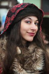 Gypsy Beauty (wyojones) Tags: texas texasrenaissancefestival toddmission texasrenfest renfest renfaire renaissancefaire faire renaissancefestival festival trf girl woman brunette maiden wench cute pretty lovely gorgeous beautiful beauty blueeyes smile lips redlips scarf fur amimalhide gypsy rose wyojones