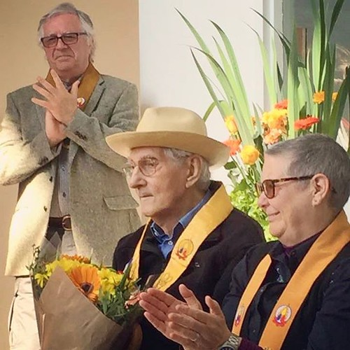 Bhante Sangharakshita made a sweet surprise appearance at Adhisthana to help mark Triratna@50 #Triratna50 Watch a video on Facebook of him talking about still being wild!