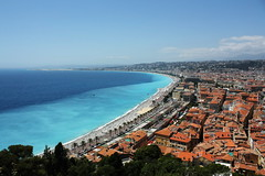 Nice from above (phoenix-song) Tags: ocean blue summer france beach nice warm rooftops twotoned