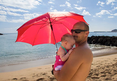 (lindilindi) Tags: baby sun cute beach girl umbrella infant father daughter liliana protection modelreleased