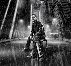 Sin City Dj (Eugin Cre) Tags: road street portrait blackandwhite bw music white black rain night photomanipulation photoshop blackwhite conceptual