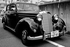 Mercedes-Benz 170S (Dakiny) Tags: summer blackandwhite monochrome field car japan mercedes benz nikon country july mercedesbenz yokohama  oldcar tamron classicar vegetablegarden    a16    170s 2013    aobaku     d5100 2013   shimoyamotocho  yamotoseseragifureaipromenade