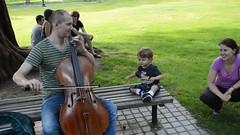 Cello playing in Boston Public Garden. (Michael, Kristy, and Felix) Tags: felix