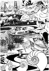 collages for laser engraved panels (alpal1305) Tags: blackandwhite art collage fun design starfish surfer crab seal ggbridge seaurchin woodpanel teachingtool shorelinebiome