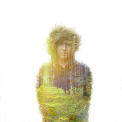 Into the Wild (Morphicx) Tags: camera winter portrait woman me nature beautiful dutch female forest sunrise fur person spring woods seasons doubleexposure coat creative double human technical create wishing selfie intothewild morphicx