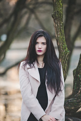 Dasha (Gerda Ros) Tags: street wood trees girl forest dress young grace lovely blackhair gerdaros