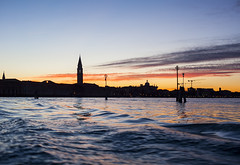 IMG_2852 (SamSeguso) Tags: venice light sunset italy orange water boat lagoon campanile dreams venise bricole sunsetinvenice