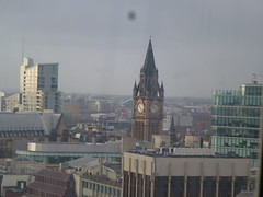 View from inside the wheel (Gene Hunt) Tags: geotagged piccadilly clocktower 2014 manchestertownhall greatermanchester panasonicdmctz20 manchesterm1 insidethemanchesterwheelpiccadillygardens