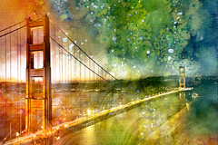 Golden Dawn Bridge - Glowing Watercolor Infusion (Bold Frontiers) Tags: california city travel bridge blue light red sky urban orange usa white abstract black building green art texture tourism water beautiful beauty yellow architecture illustration america photomanipulation river dark watercolor painting gold lights golden town us mixed scenery gate san francisco media long exposure paint pretty acrylic glow bright image suspension vibrant background united stock scenic picture free scene american nicolas watercolour glowing raymond states epic resource grungy touristic vibrance splatters spatters somadjinn freestockca