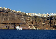 Sailing into Santorini (jenni747) Tags: blue water island greek mediterranean ship village cliffs santorini bej the4elements