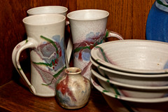 Pottery by Cooper Mays (tommaync) Tags: blue red green oneaday mugs glasses nc nikon gray northcarolina photoaday vase pottery dishes february bowls handles pictureaday 2014 chathamcounty d40 project365 project365037 project365020614 coopermays