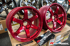 """VOLK Racing TE37SL 18x9.5 +22 Hyper Red • <a style=""""font-size:0.8em;"""" href=""""http://www.flickr.com/photos/64399356@N08/12913744545/"""" target=""""_blank"""">View on Flickr</a>"""