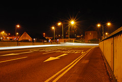 The Light (thenickyroberts) Tags: road bridge signs car wales lights slow traffic south roundabout shutter vehicle treforest pontypridd valleys a470 rhydyfelin a4054
