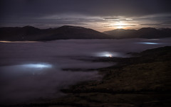 Moonset (Bryan Harkin) Tags: uk nightphotography camping moon mist fog night clouds landscape photography lights scotland town amazing long exposure view nightscape time hiking hill scottish loch lomond conic
