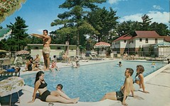 Dyconia Hotel, Wasaga Beach, Ontario (SwellMap) Tags: sun pool architecture swimming vintage advertising design pc 60s fifties postcard suburbia style motel kitsch retro swimmingpool nostalgia chrome pools swimmer americana 50s roadside poolside googie populuxe sixties babyboomer consumer coldwar midcentury spaceage aquatics atomicage