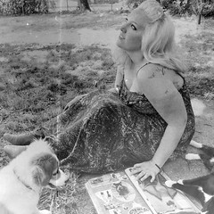 day 068. (H o l l y.) Tags: summer blackandwhite bw dog selfportrait cute grass fashion hair puppy blonde