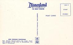 New Orleans Panorama, 1960s, back (Tom Simpson) Tags: travel vintage advertising disneyland postcard ad disney 1960s collectibles neworleanssquare vintagedisney