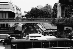 Victory Monument - Bangkok (35mm) (jcbkk1956) Tags: street bridge film buses 35mm walking thailand concrete canal traffic pentax bangkok walkway pedestrians manual elevated ilford khlong victorymonument