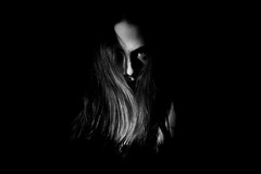 Susan 2 (stephenhealyphoto) Tags: horror face woman eyes dark scary halloween disturbing black white shadow evil possessed