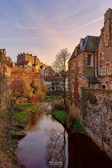 Dean Village at Sunset (MilesGrayPhotography (AnimalsBeforeHumans)) Tags: architecture auldreekie britain canon 6d canoneos6d canon6d city deanvillage edinburgh eos ef europe evening f4l glow iconic landscape lens outdoors old photography tranquil reflections river scotland sky scenic sunset town twilight uk usm unitedkingdom village winter waterofleith 1740 ef1740mmf4lusm