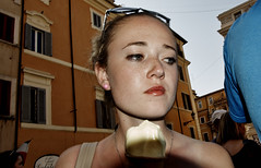Me and my ice cream. (Baz 120) Tags: candid candidstreet candidportrait city candidface candidphotography contrast colour street streetphoto streetcandid streetphotography streetphotograph streetportrait rome roma romepeople romestreets romecandid europe women color primelens portrait people unposed omd olympus italy italia life girl faces flashstreetphotography flash mft decisivemoment strangers