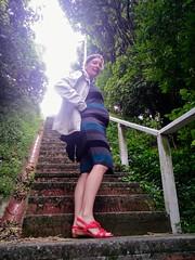 Anais enceinte, escalier du matin