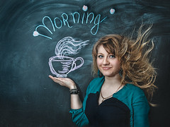 Morning starts with Mug (Polev) Tags: morning portrait inspiration orchid girl beauty bag evening flying chalk drawing girly things portraiture mug wineglass gaze copy blackboard peer itself regard