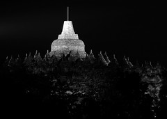 Borobudur Temple by Night (ollygringo) Tags: travel bw heritage history archaeology monument statue stone architecture night indonesia temple java construction ancient asia southeastasia buddha stupa buddhist stonework religion buddhism carving unescoworldheritagesite worldheritagesite archeology borobudur worldheritage magelang gupta centraljava 9thcentury mahayana
