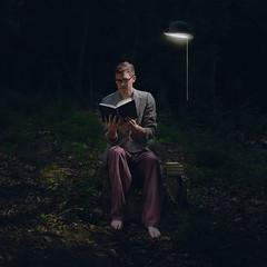 160/365 - Midnight Adventure (loganzillmer) Tags: hat night reading woods dream surreal read midnight fineartphotography conceptualphotography conceptualimage