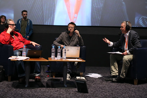 DJ Simon Mayo and Film Critic Mark Kermode with CEO Ken Hay during the Radio 5 Live event at the Cineworld