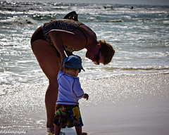 first steps on the beach (Mudcat2010) Tags: summer woman sun water walking mom sand toddler surf waves gulf florida son environment panhandle