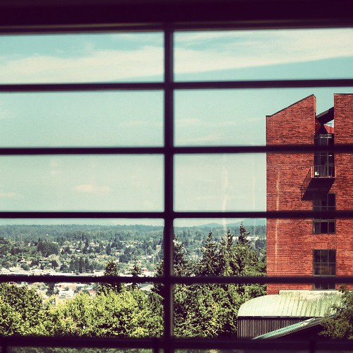 Mathes Hall and downtown Bellingham, as seen from the @vikingunion. #westernsummer