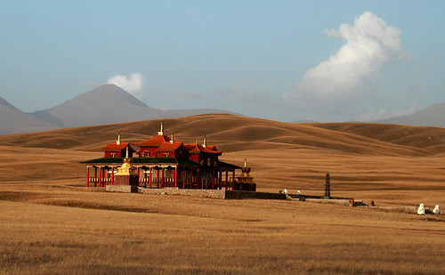 2644 A temple in the grassland--Bayinbuluke , Xinjiang Province , China