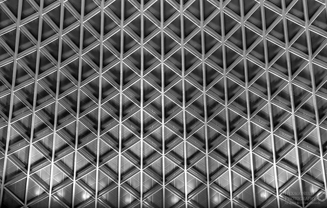 Roof at Kings Cross in B&W HDR  3 Shot hand held HDR +/- 2 EV
