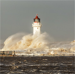 Standing Resolute (Chris Beard - Images) Tags: uk winter sea england lighthouse seascape storm landscape coast december waves crashing newbrighton merseyside stormlight stormatsea newbrightonlighthouse