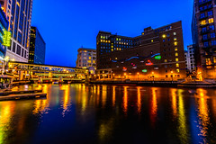 Milwaukee River Blue Hour (Sharky.pics) Tags: longexposure blue wisconsin architecture night reflections river lights downtown milwaukee bluehour riverwalk skywalk 2013