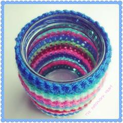 jar cosy (The Patchwork Heart) Tags: crochet recycle recycling upcycle upcycling jarcosy thepatchworkheart crochetedjarcosy