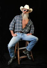 Wrangler Up (Cowboy Tommy) Tags: hairy hot sexy beard spurs goatee cowboy legs boots cigarette smoke chest manly wranglers crotch shades smoking jeans western denim mustache tight plaid rugged portrat selfie unbutton silverdaddy