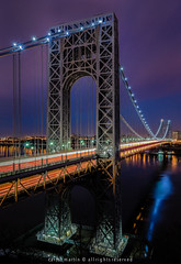 George Washington Bridge (Photography by Carlos Martin) Tags: newyorkcity longexposure architecture newjersey landmark hudsonriver bluehour fortlee georgewashingtonbridge goldenart bestcapturesaoi palisadesinterstateparkinnewjersey