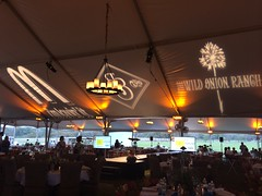 Logo Projection - Amber/Champagne Lighting - Tent Lighting - Chandelier - Wild Onion Ranch
